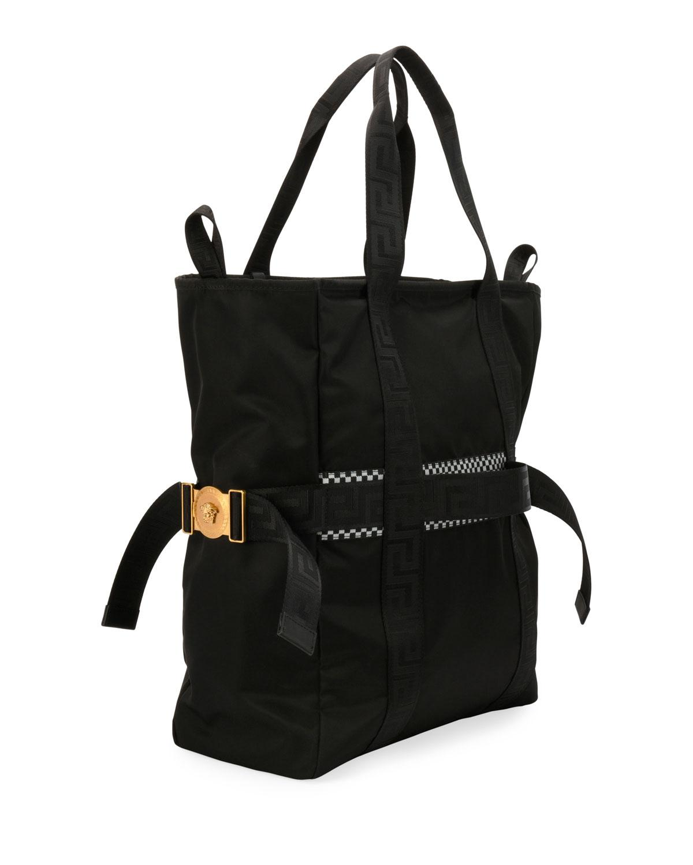 0b547337a132 Versace Men s Greek Chain Nylon Tote Bag in Black for Men - Lyst