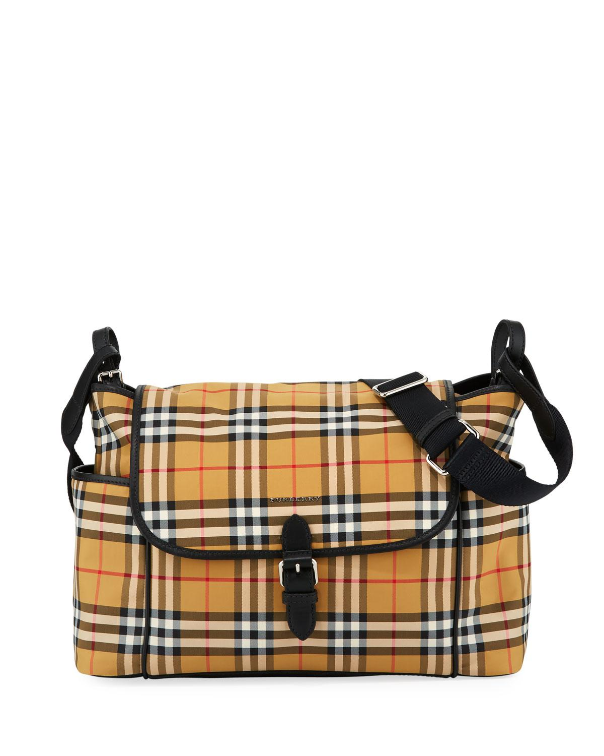 bf264df62238 Burberry Flap-top Check Canvas Diaper Bag in Natural - Lyst