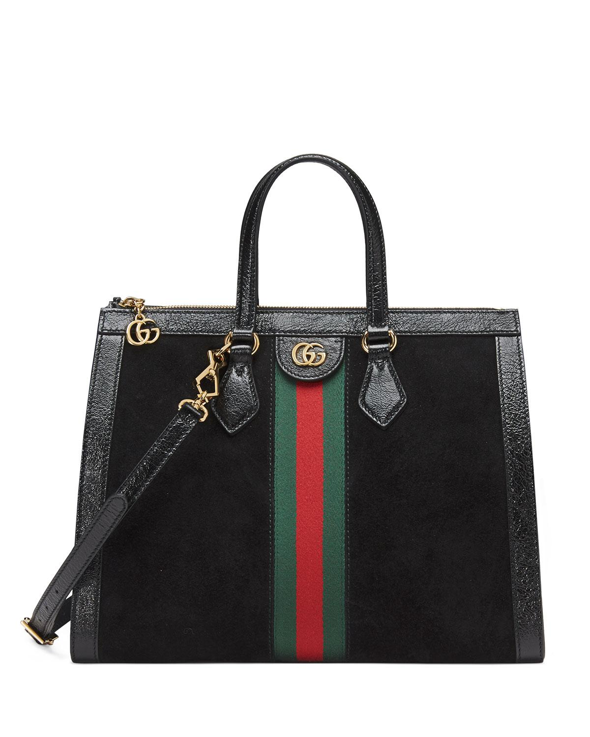 Lyst - Gucci Ophidia Web Suede Top-handle Tote Bag in Black f7aa2bdb39