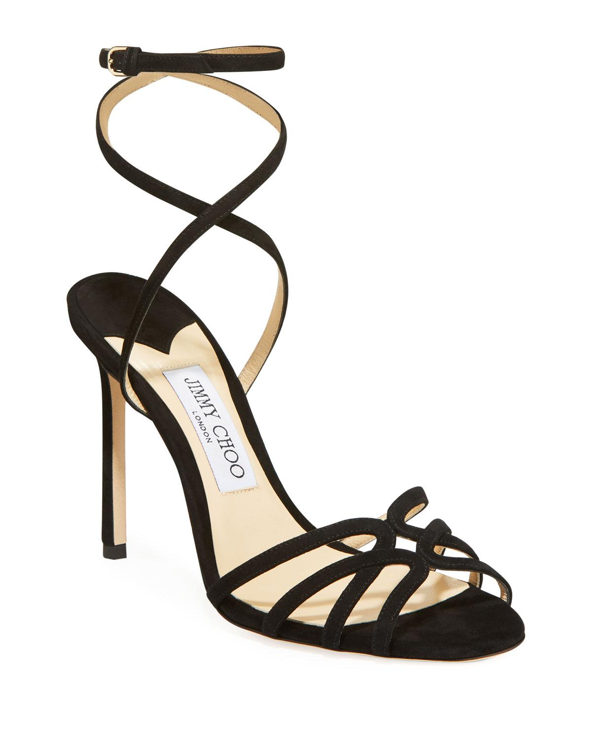 6c4e516595ca Jimmy Choo - Black Mimi 100mm Suede Sandals - Lyst. View fullscreen