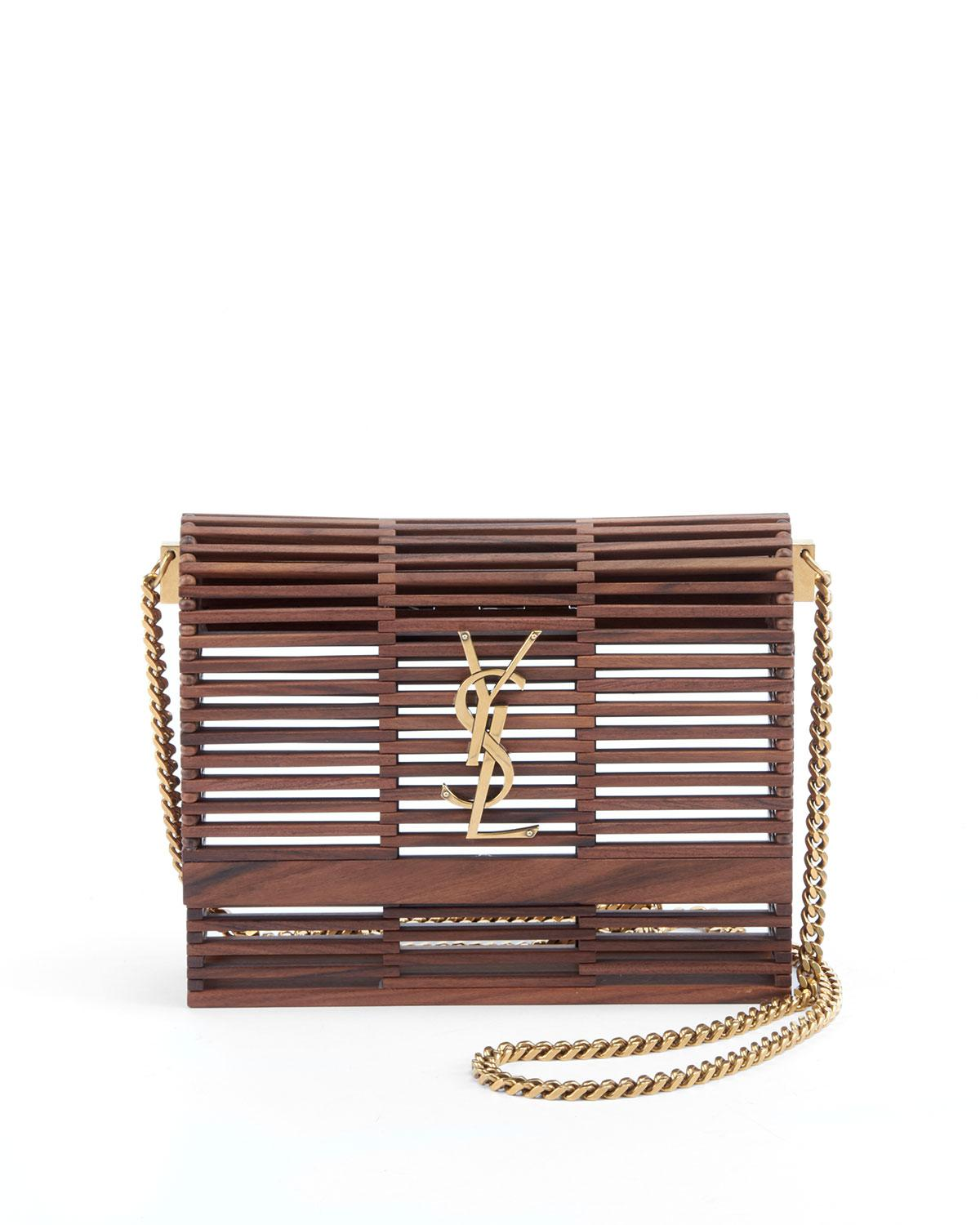 Lyst - Saint Laurent Small Kate Wooden Weave Box Bag in Brown 22e9e5a939c0a