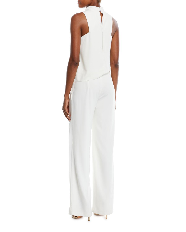 c589e67e271 Lyst - Halston Heritage Sleeveless Draped Jumpsuit W  Sash in White