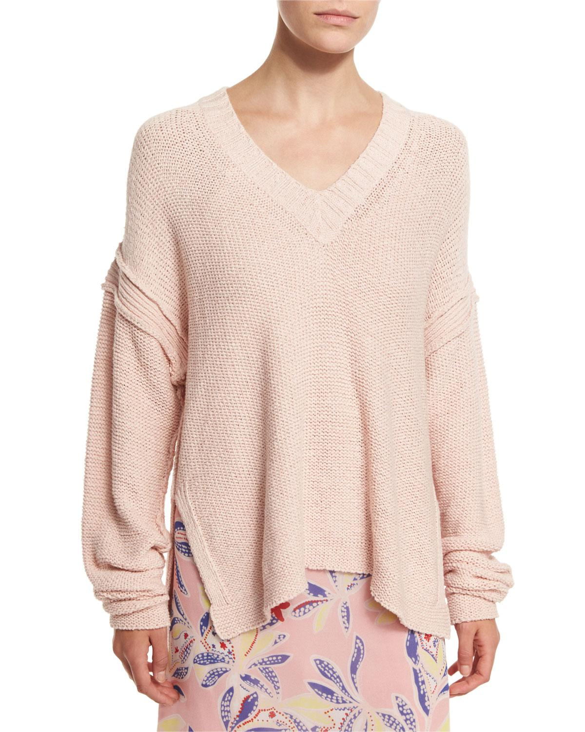 See by chloé Oversized V-neck Pullover Sweater in Pink | Lyst
