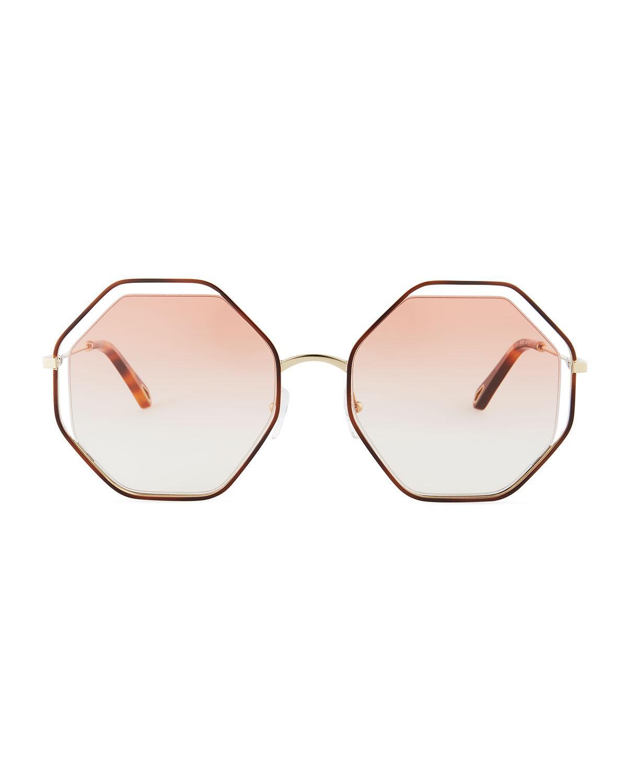 10b05c21133 Chloé Poppy Geometric Sunglasses - Save 18% - Lyst