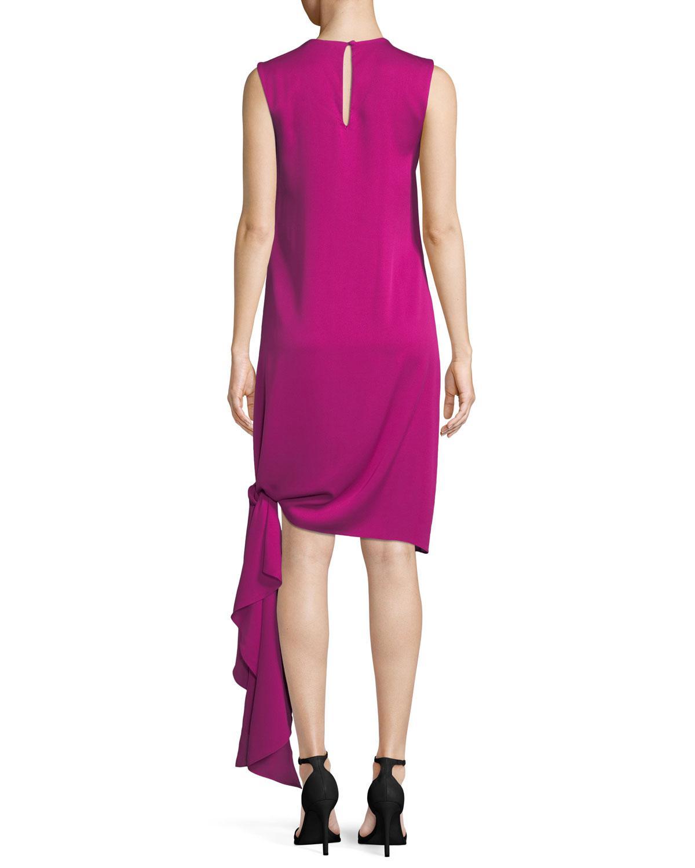 ee682dd1 MILLY - Pink Chiara Stretch-silk Dress W/ Asymmetric Tied Hem - Lyst. View  fullscreen