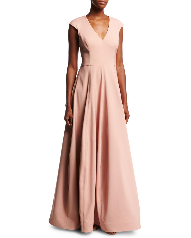 Lyst - Halston Heritage V-neck Cap-sleeve Silk Faille Evening Gown ...