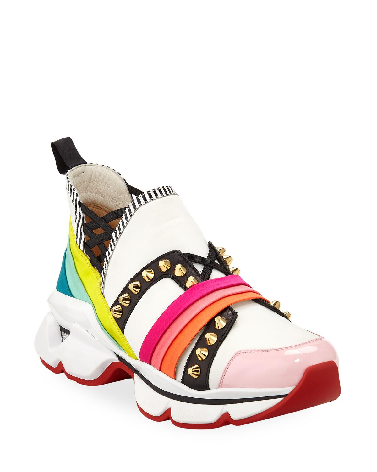 d46e9de3bb7 Lyst - Christian Louboutin 123 Run Rainbow Red Sole Sneakers in Red