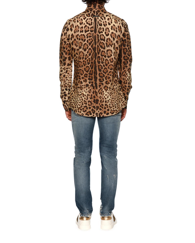3e1bba829a1c Dolce & Gabbana Leopard-print Poplin Shirt in Brown for Men - Lyst