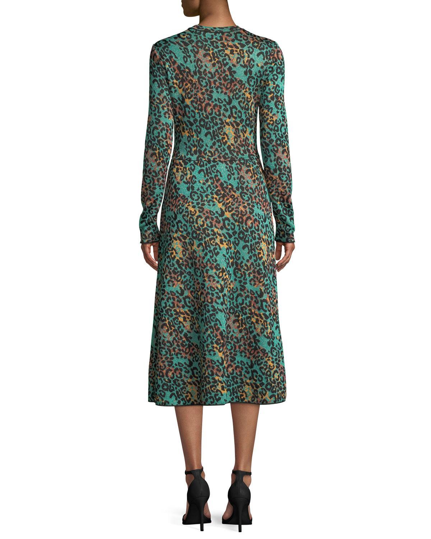 a18b84fba62c49 Lyst - M Missoni Metallic Animal-print Long-sleeve Dress in Green ...