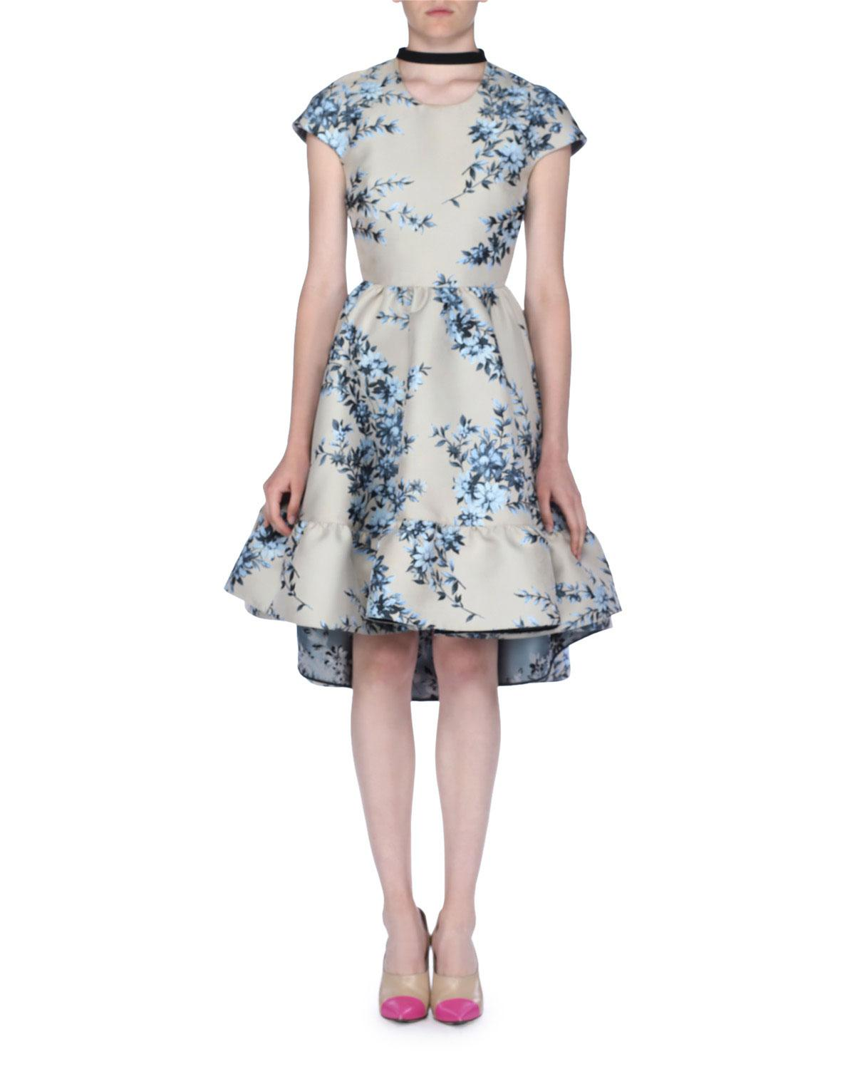 9a9cb1e07677 Lyst - Fendi Cap-sleeve Floral Jacquard Dress With Ribbon Tie in Natural