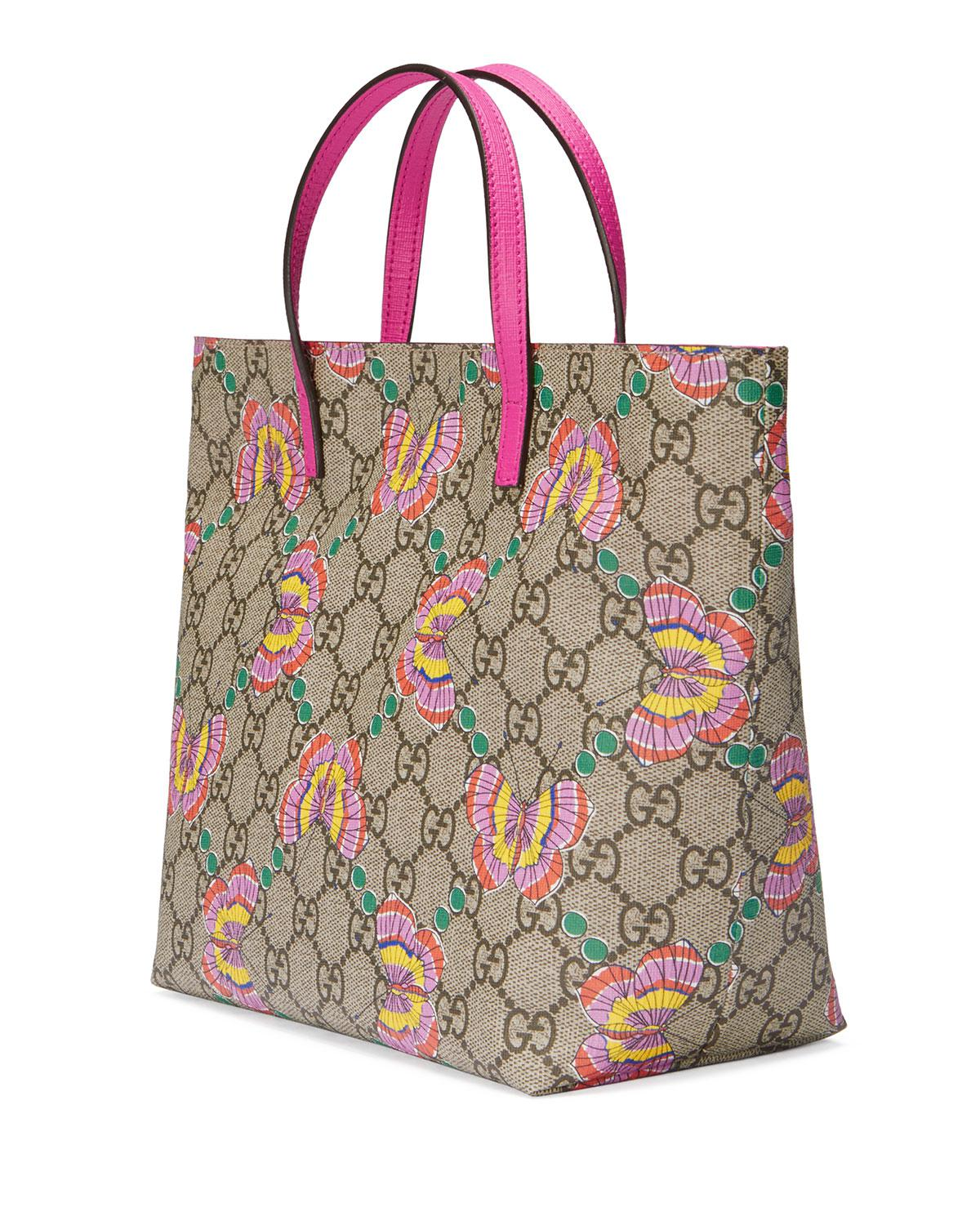 564465b36d37 Gucci Girls' Gg Supreme Butterfly Tote Bag in Natural - Lyst