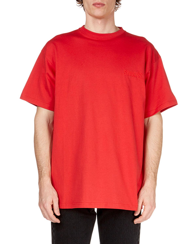 bf50f98e6244 Balenciaga Men's Sinners Crewneck Jersey T-shirt in Red for Men - Lyst