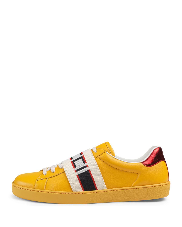 3e06a6c7070 Lyst - Gucci Stripe Leather Sneaker in Black for Men