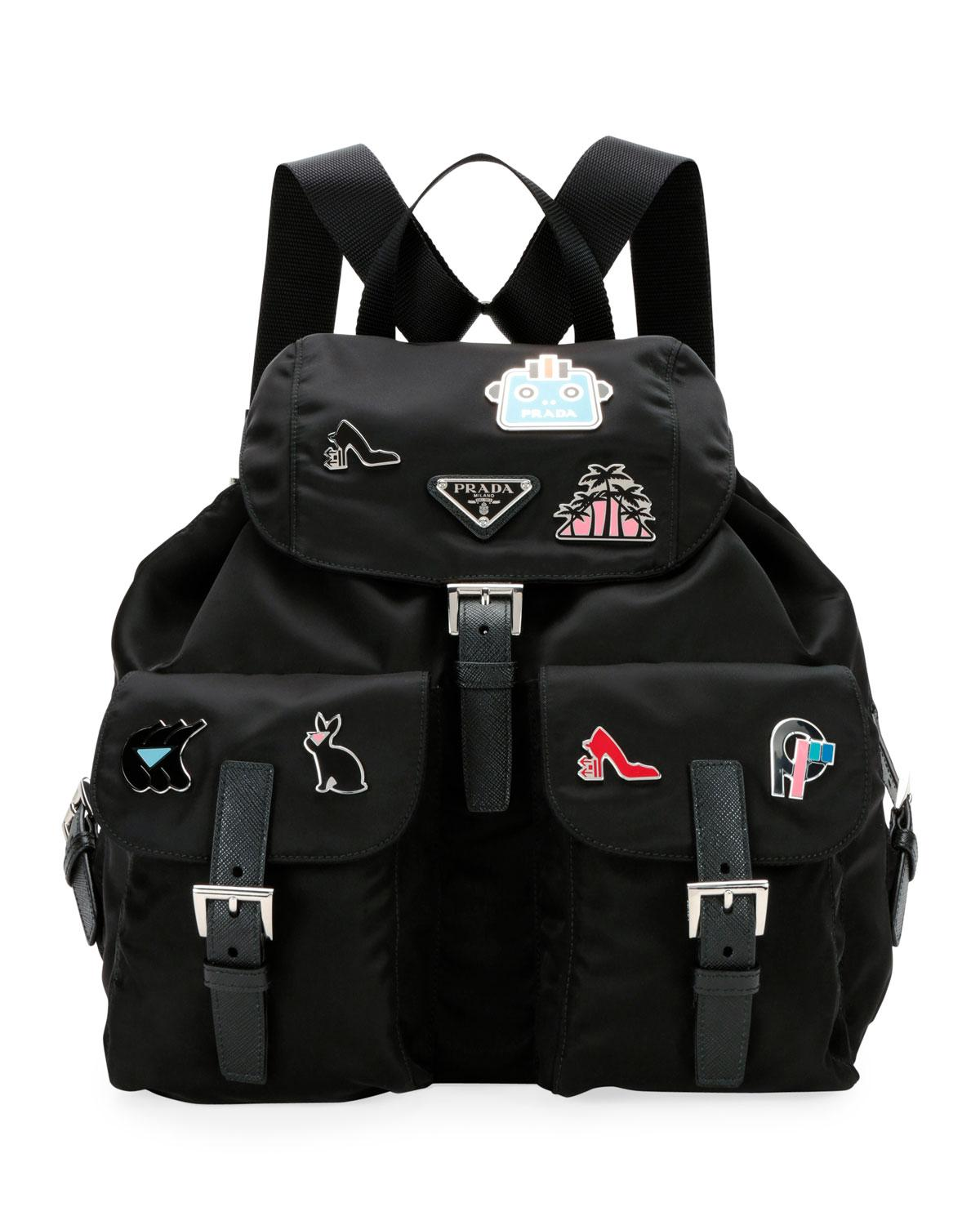 cbec1f9cffad Prada - Black Nylon Backpack With Graphic Appliqués - Lyst. View fullscreen