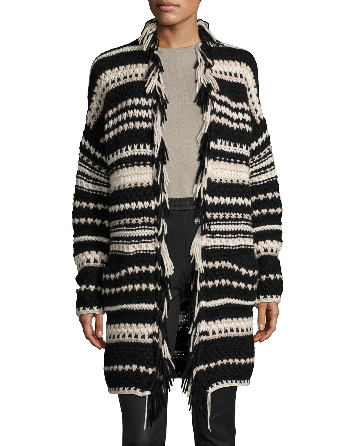 Iris von arnim Hand-knit Long Open Cardigan in Black | Lyst