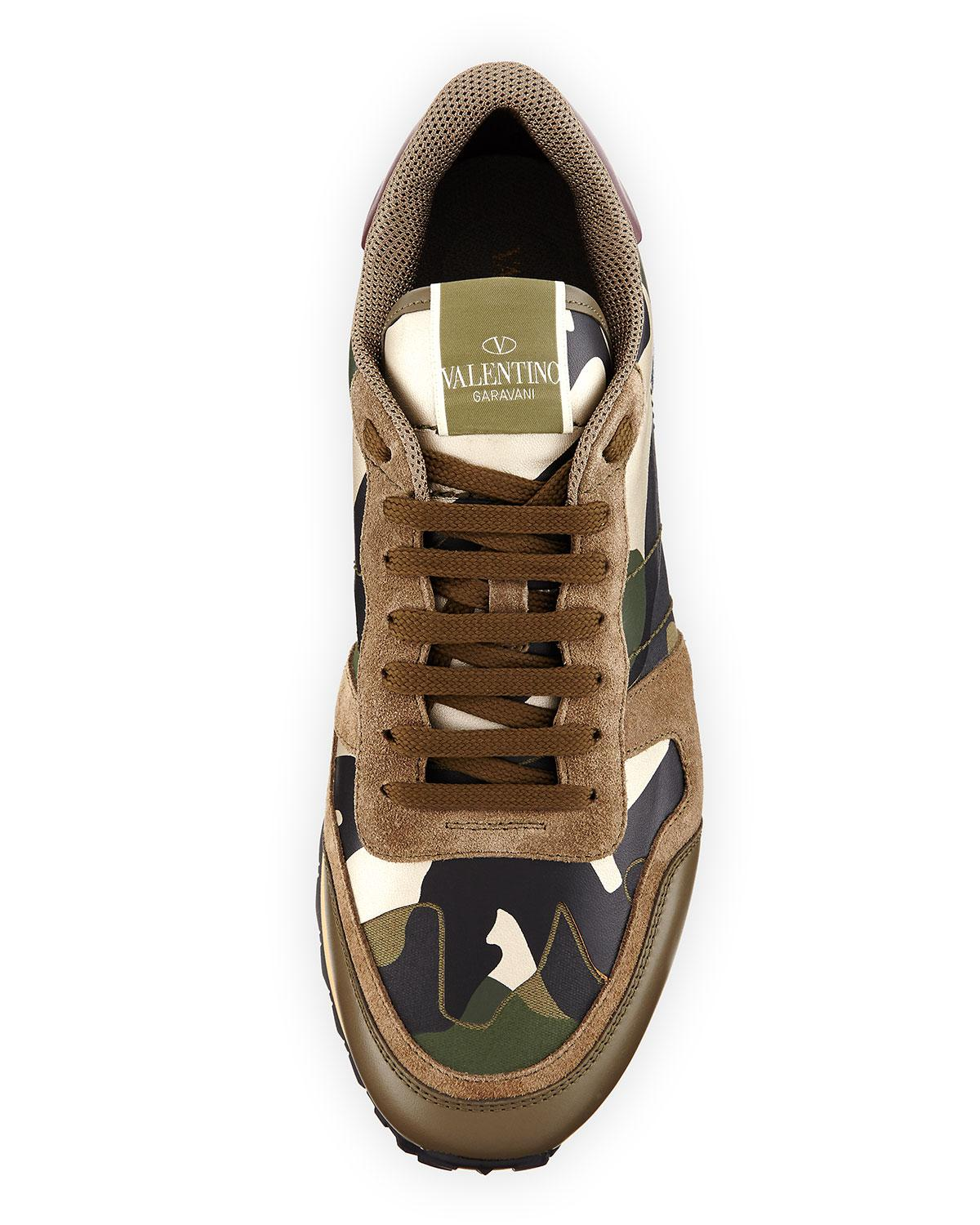 77524389d68b Lyst - Valentino Men s Rockrunner Laminate Camo Leather Trainer ...