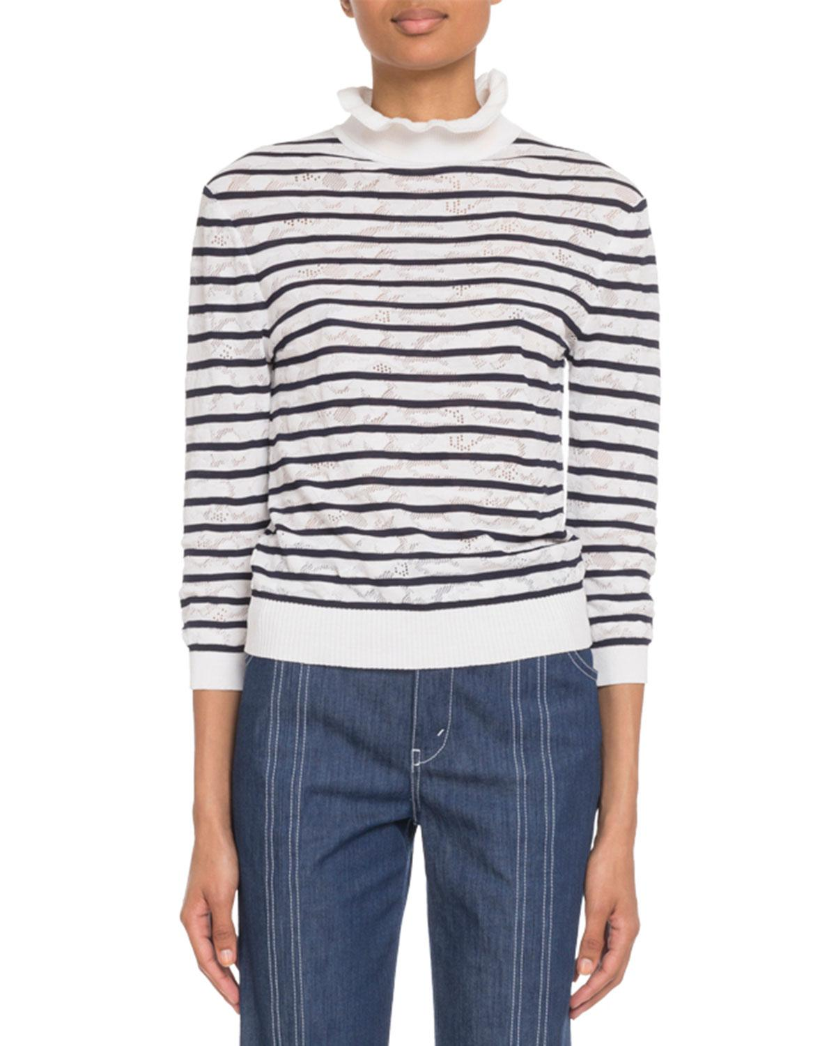 c56df41ab8285 Lyst - Chloé Ruffled Turtleneck Striped Lace Sweater in Blue