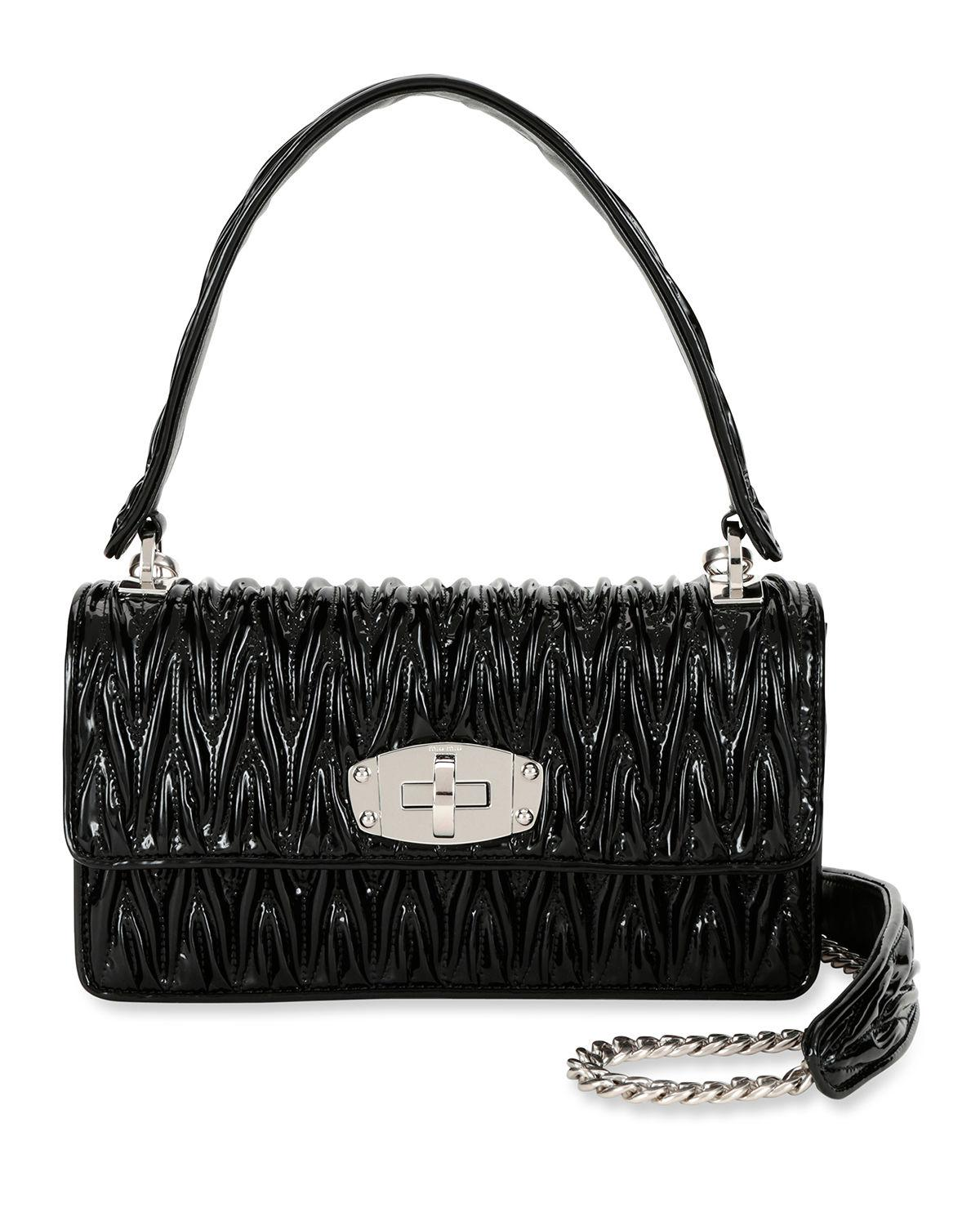 a0cd80cc8ce Lyst - Miu Miu Vernice Matelasse Cleo Top Handle Bag in Black