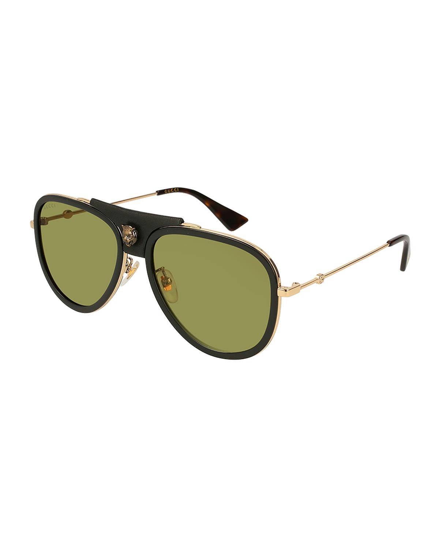 dd5786fc9acf7 Gucci - Metallic Enamel Web Metal Aviator Sunglasses - Lyst. View fullscreen