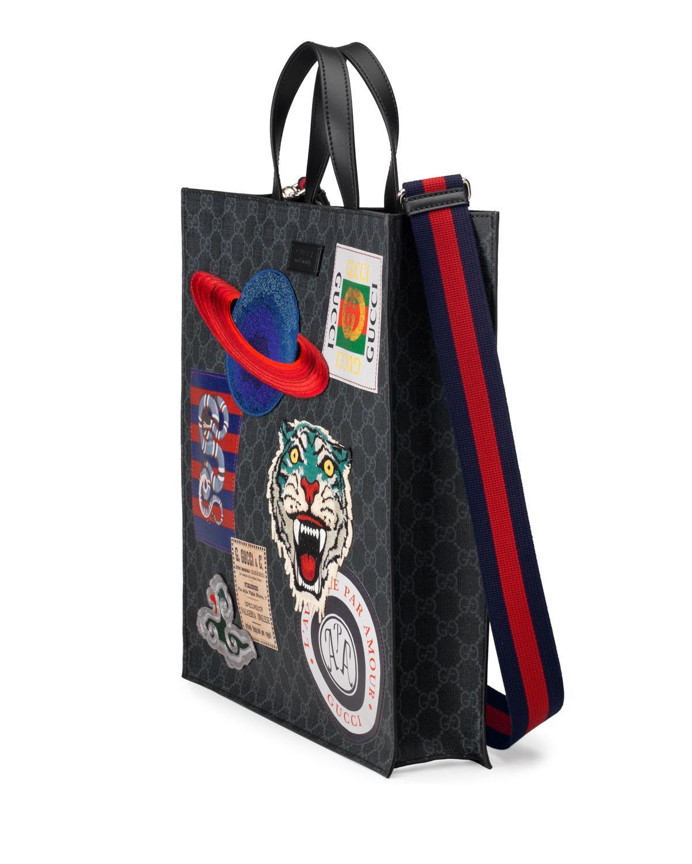 6c029e239bc1fc Gucci Men's GG Supreme Tote Bag With Patches in Black - Lyst