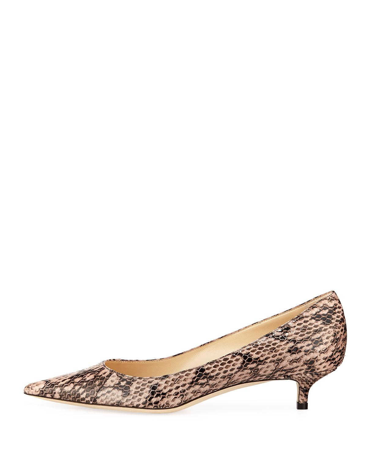 436d050ac714 Lyst - Jimmy Choo Amelia Pointed Snakeskin Pumps in Pink