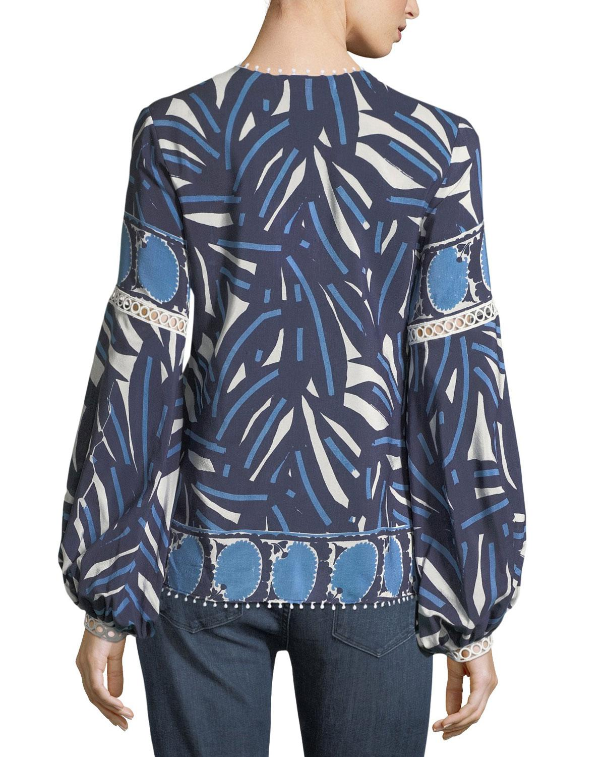 9d972aa0138c74 Lyst - Alexis Ciela Lace-bib Long-sleeve Printed Cotton Top in Blue - Save  25%