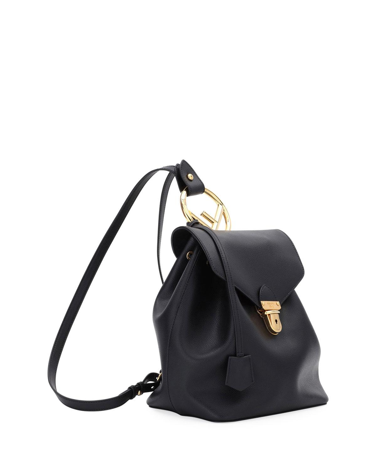 fcd4531494f9 Fendi Cruise Shiny Calf Leather Backpack in Black - Lyst