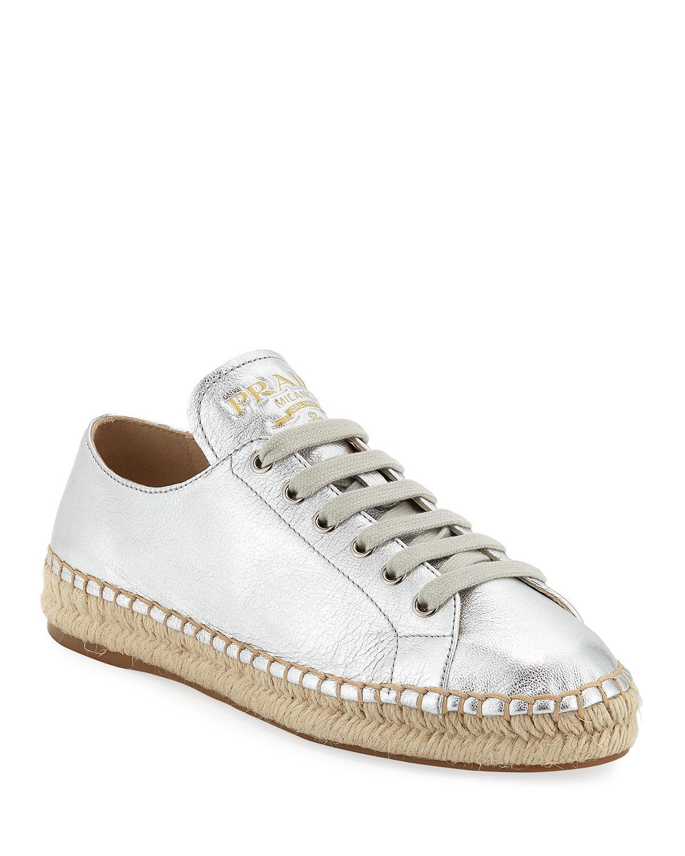 f244017a3237 Lyst - Prada Metallic Leather Espadrille Sneakers in Metallic