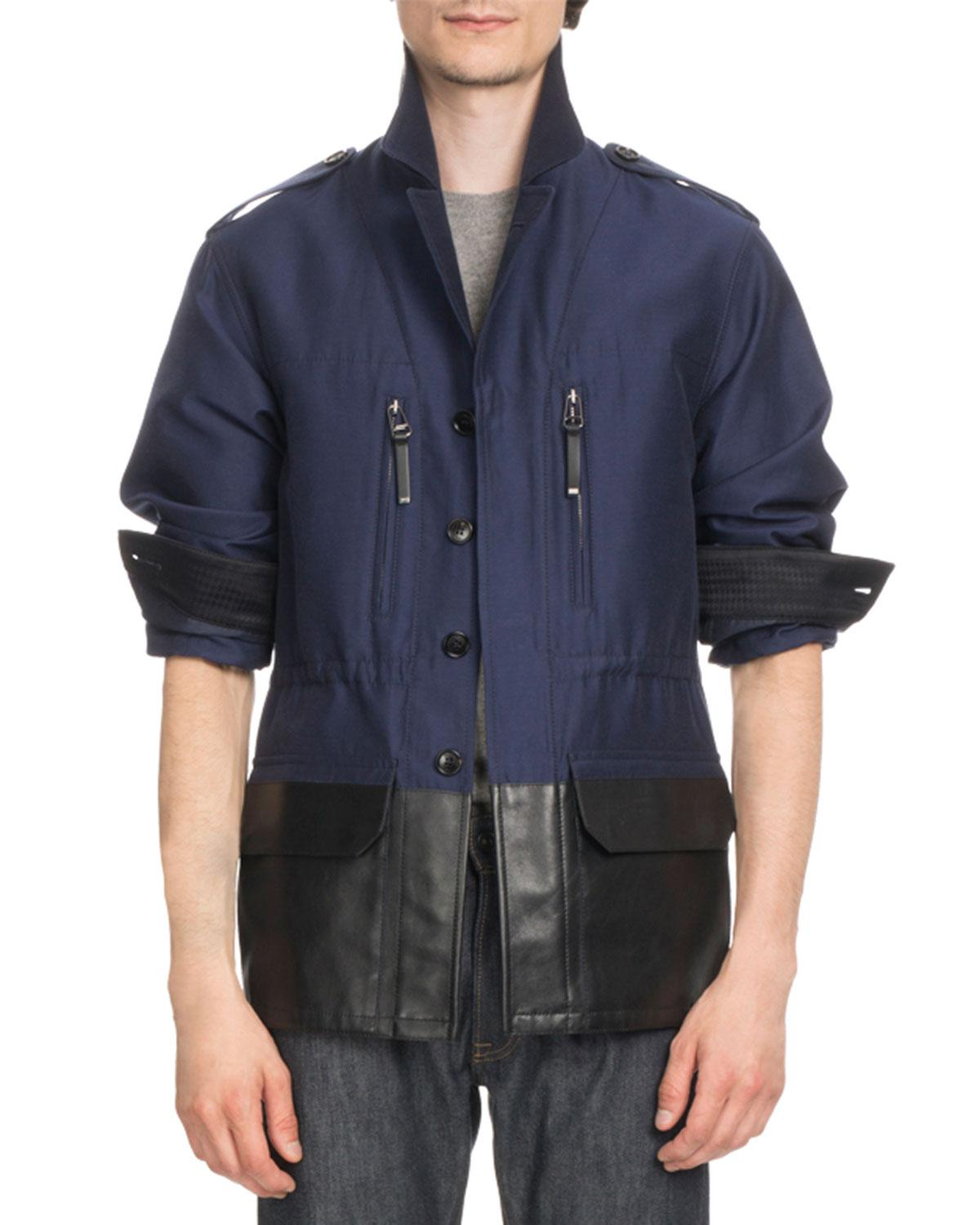 903c1b083b01 Lyst - Berluti Cotton Field Jacket With Coated Trim in Blue for Men