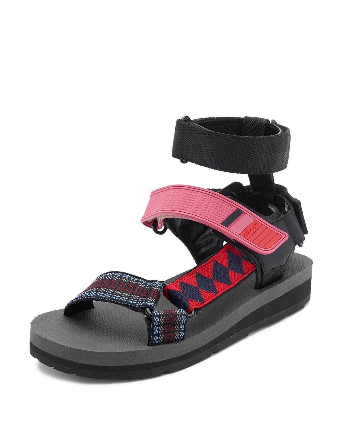 Prada Printed Grip Strap Sandal In Blue Lyst