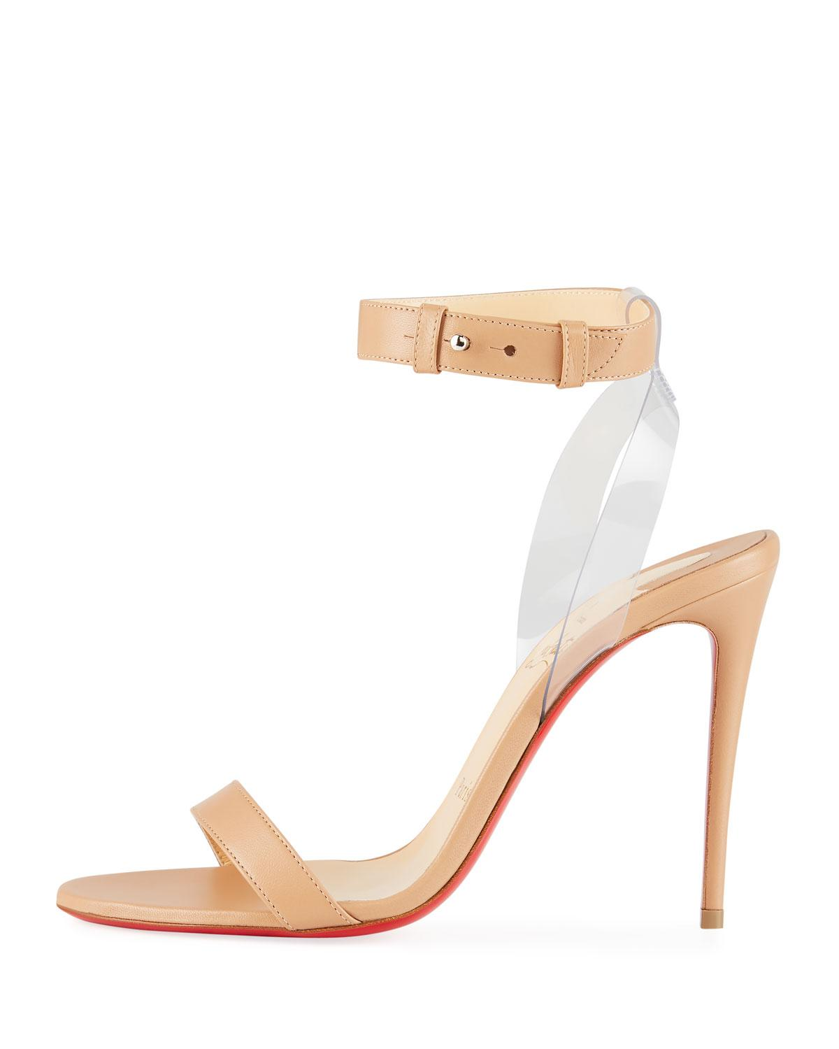 cdd9735dee9 Christian Louboutin Jonatina Illusion Ankle-strap Red Sole Sandals in  Natural - Lyst