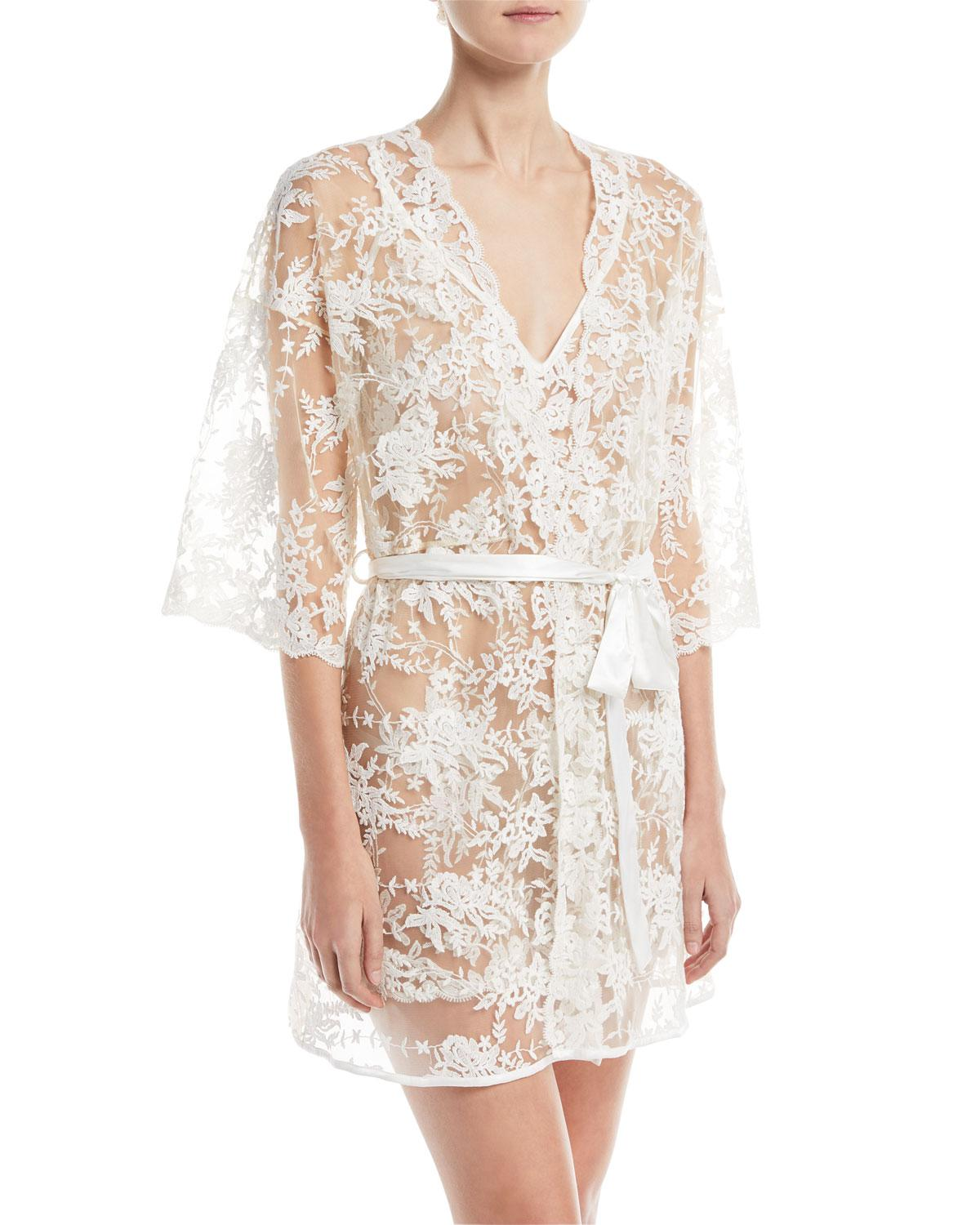 b0d6fb8623 Lyst - Cosabella Rosie Sheer-lace Short Robe in White