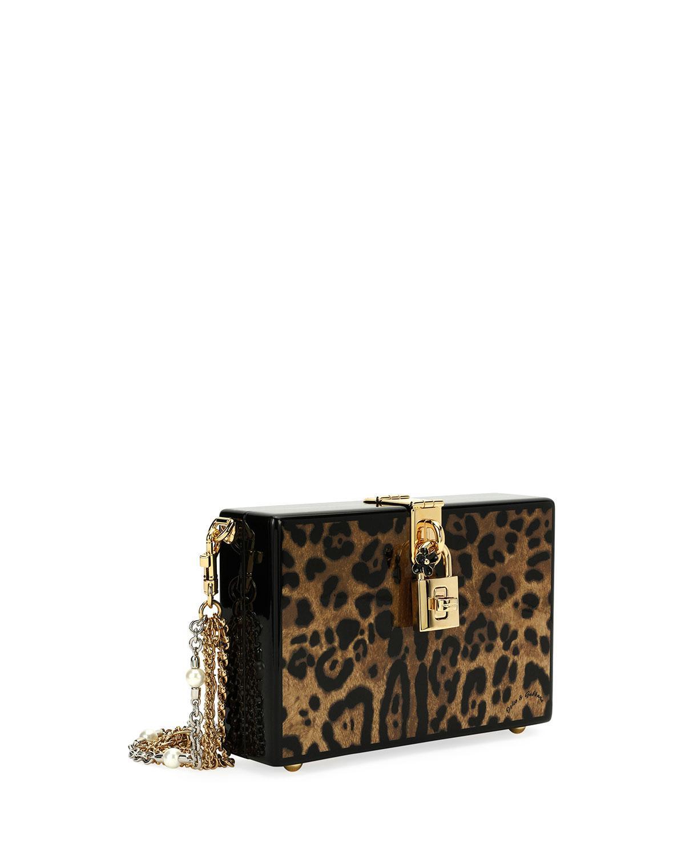 32640ebf65 Lyst - Dolce   Gabbana Leopard-print Wood Box Clutch Bag in Brown