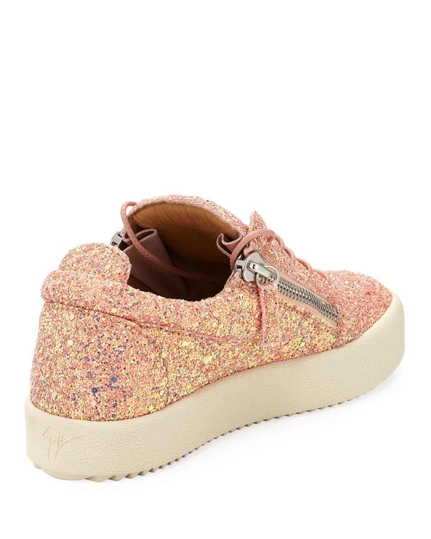 9a03955da3b Lyst - Giuseppe Zanotti May Coarse Glitter Platform Sneaker in Pink