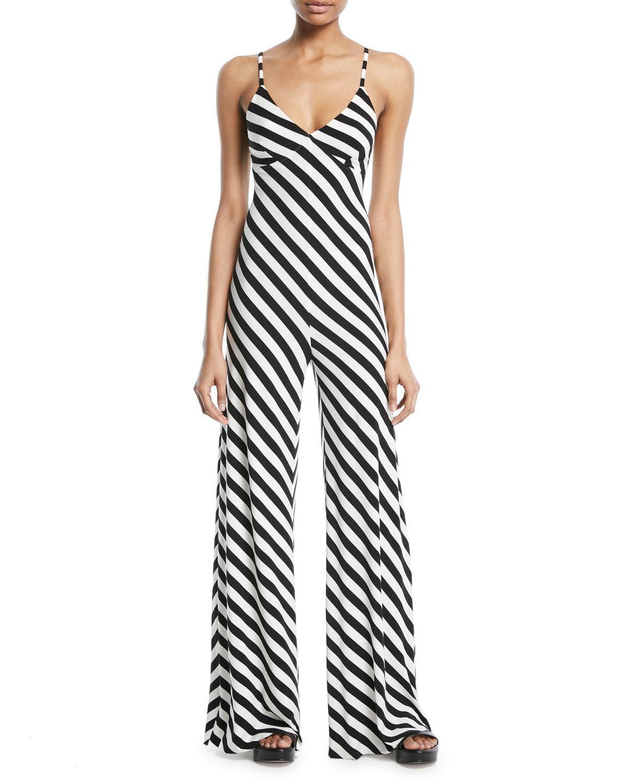 5bb47cdad05 Lyst - Norma Kamali Striped Sleeveless Slip Jumpsuit in Black