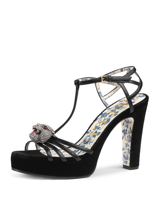 0984e80ac Lyst - Gucci Velvet Platform Sandals in Black