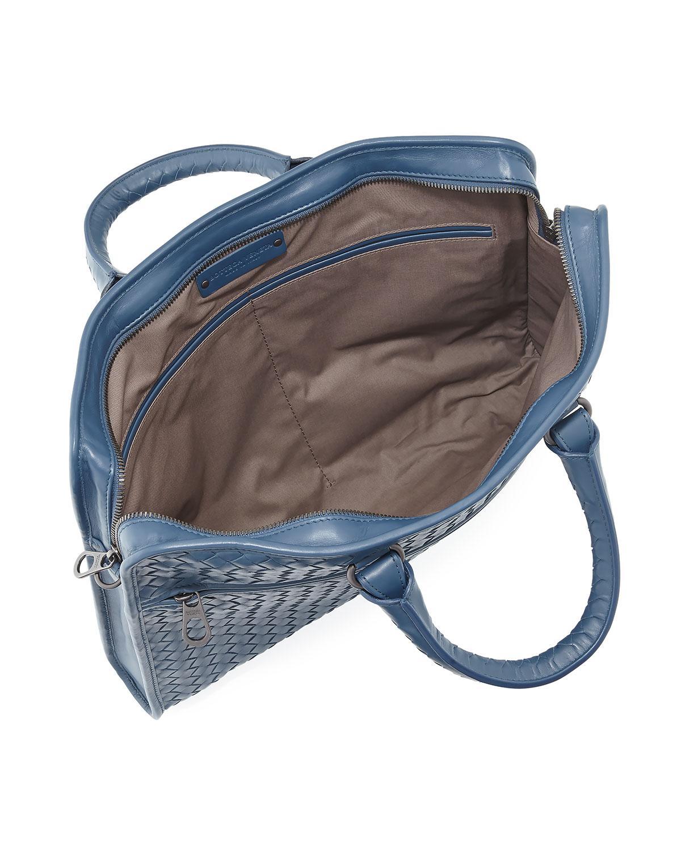 9c59043a5626 Lyst - Bottega Veneta Softie Slim Woven Briefcase in Blue