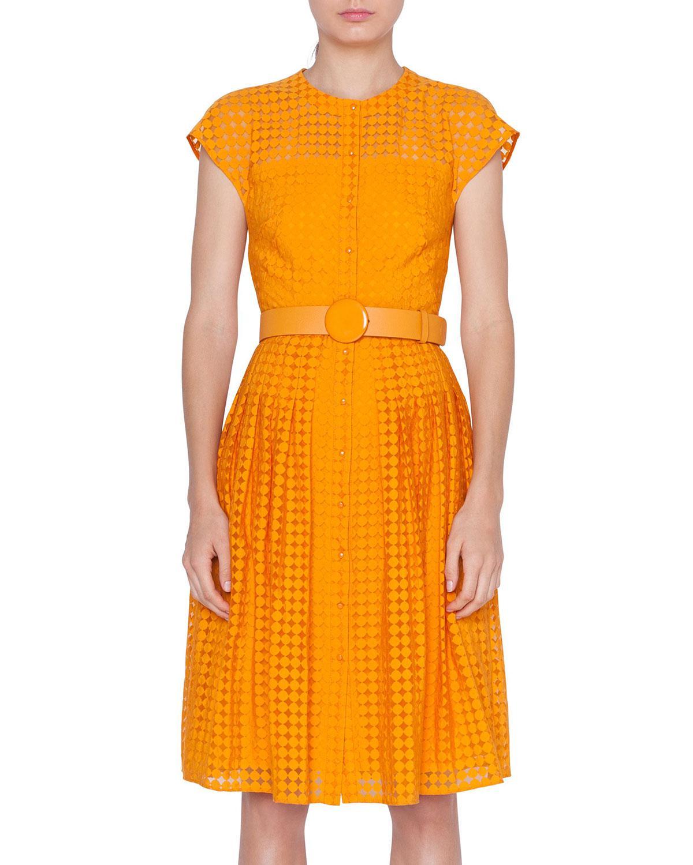 c5d0de8c75 Akris Punto. Women s Orange Belted Dotted Lace Illusion Dress.  1