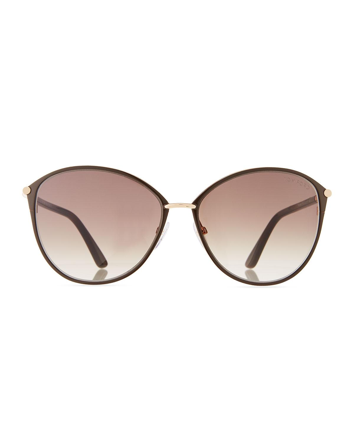 3a582b3c24601 Lyst - Tom Ford Penelope Metal Butterfly Sunglasses in Black