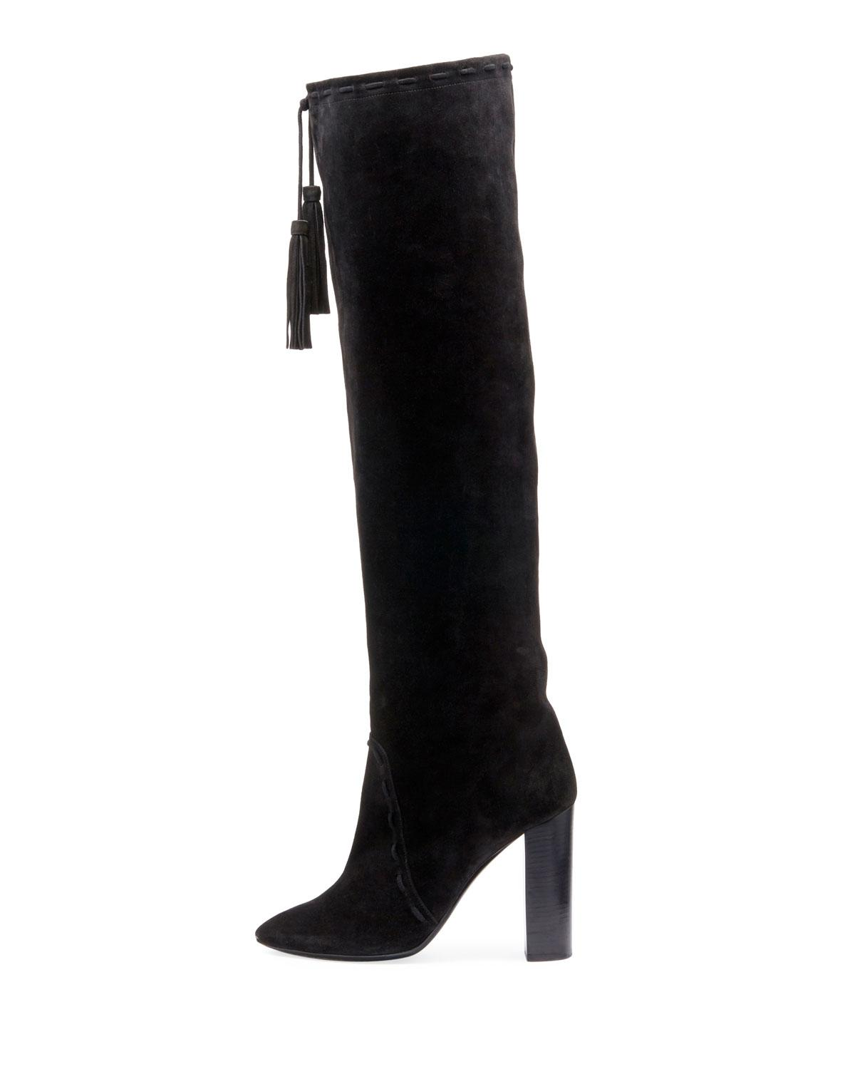 74ac96d2570 Lyst - Saint Laurent Meurice Suede Over-the-knee Boot in Black - Save 29%
