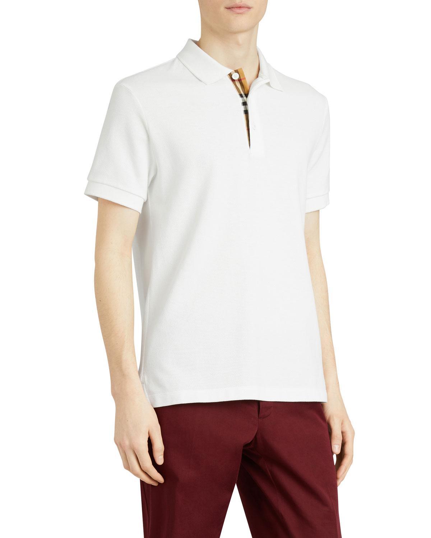 a516ba95 Lyst - Burberry Men's Hartford Check-facing Polo Shirt in White for Men