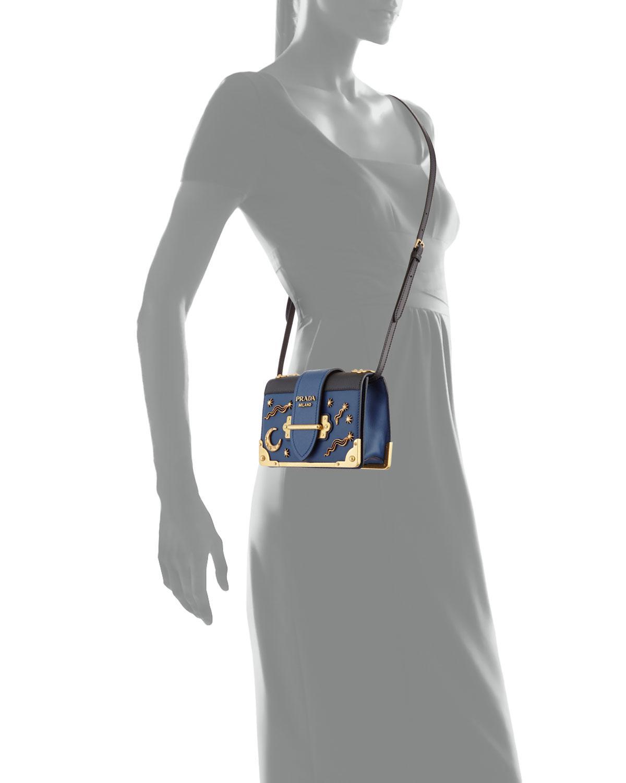 Lyst - Prada Cahier Petit Leather Trunk Bag in Black 7f7195288bb04