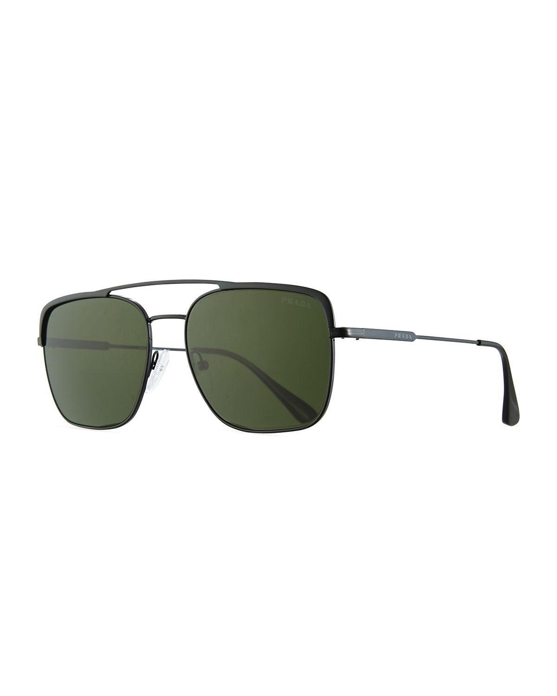 1c527fe5167a Prada - Green Men's Square Metal Aviator Sunglasses for Men - Lyst. View  fullscreen