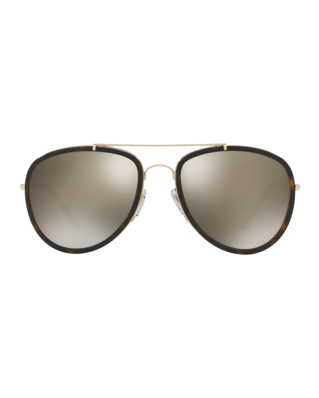 72089340e0dad Lyst - Burberry Steel Aviator Sunglasses W  Check Arms in Metallic