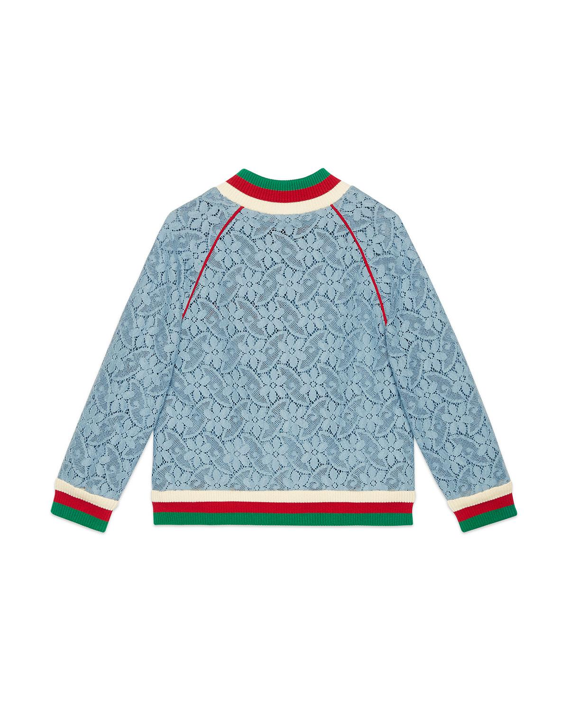 4126820c6fdb0 Lyst - Gucci Lace Bomber Jacket W  Knit Trim in Blue