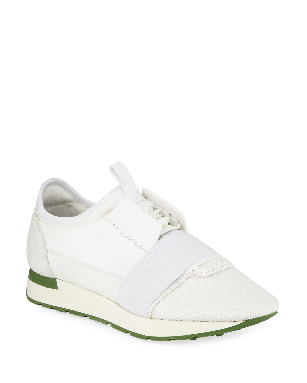 9ebe13f585cb Lyst - Balenciaga Men s Race Runner Mesh   Leather Sneakers in White ...