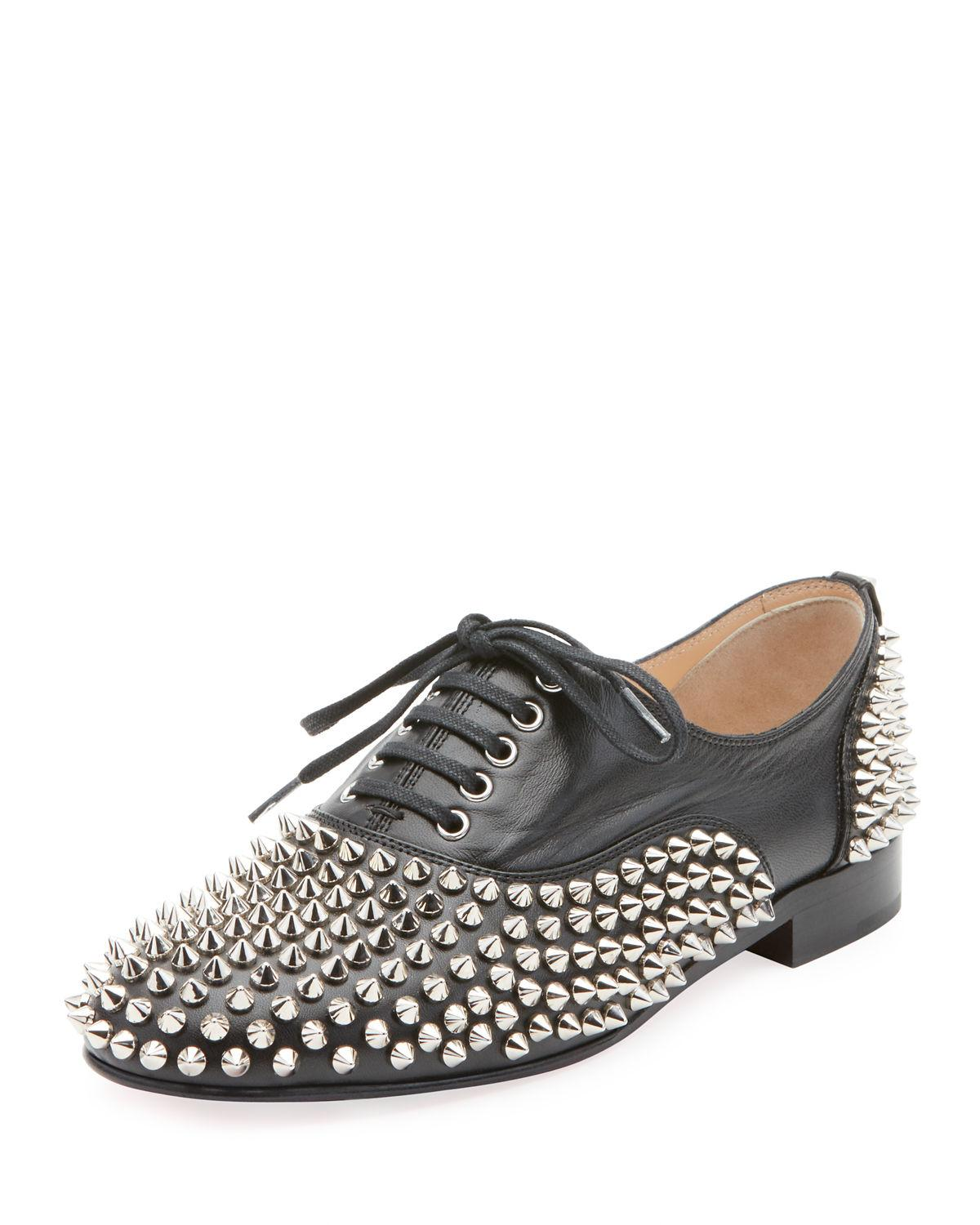 1560177302d8 Lyst - Christian Louboutin Freddy Spikes Red Sole Saddle Oxford ...