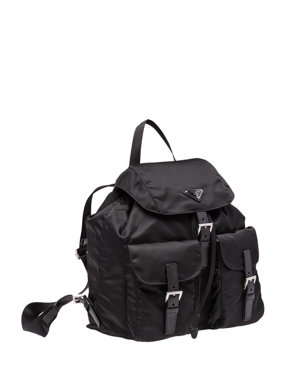 202f557b8becef Prada Vela Large Two-pocket Backpack in Black - Lyst