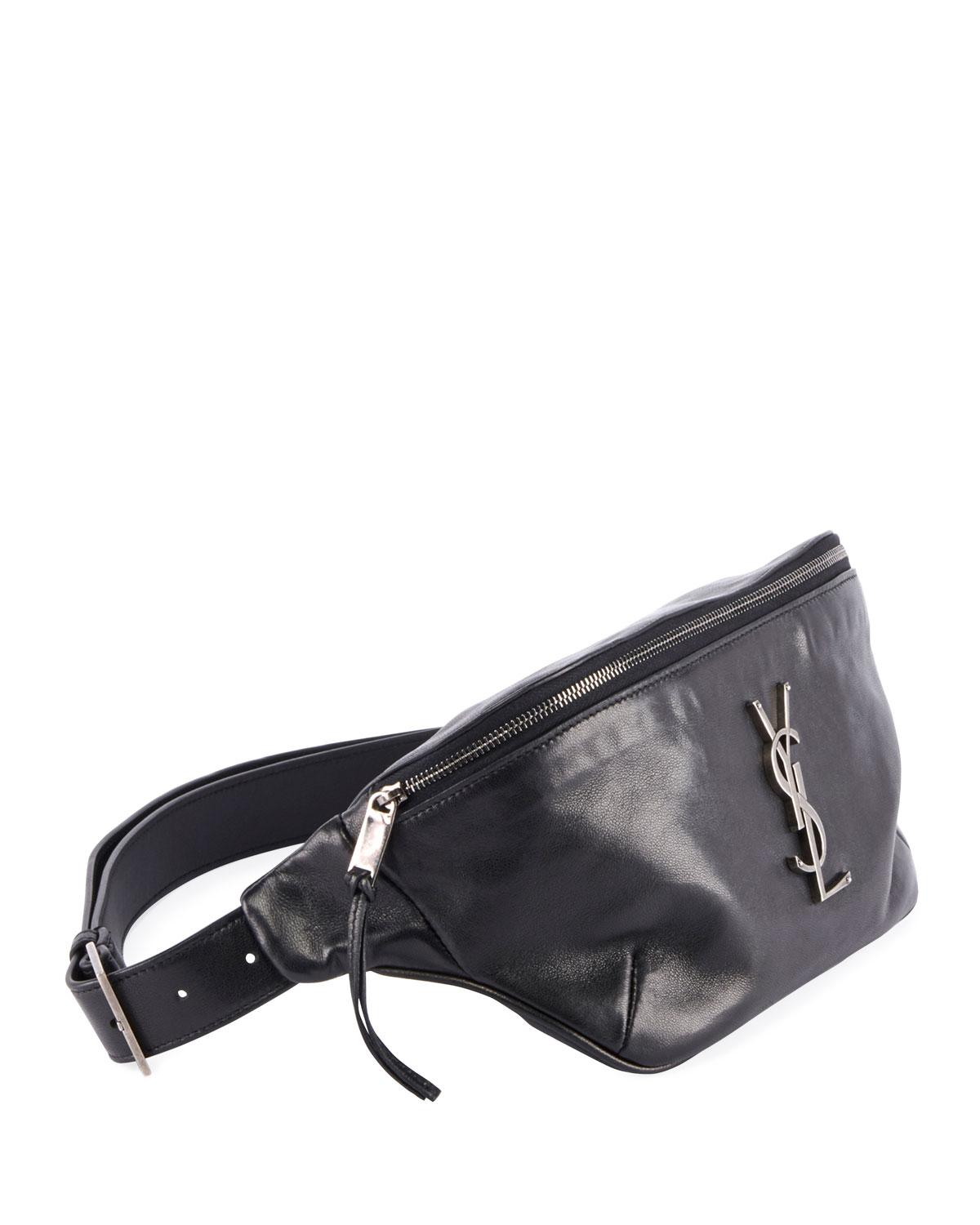 f01405dd11 Lyst - Saint Laurent Ysl Monogram Curved Zip-top Belt Bag in Black