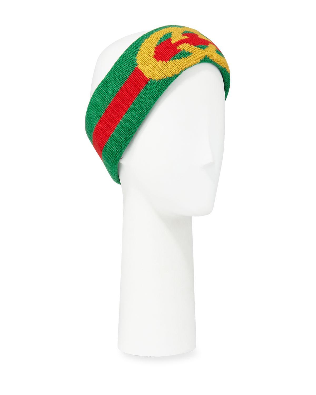 0fb7f06e45f Lyst - Gucci GG Intarsia Wool Headband in Green